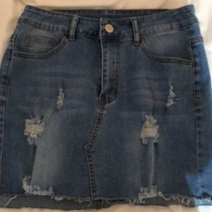 distressed jean skirt